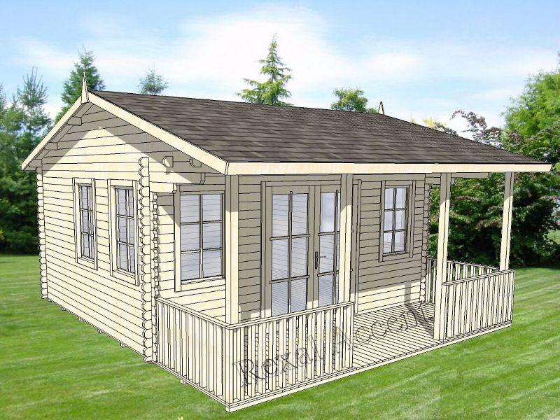 Casuta lemn 4.80 m x 3.80 m cu terasa
