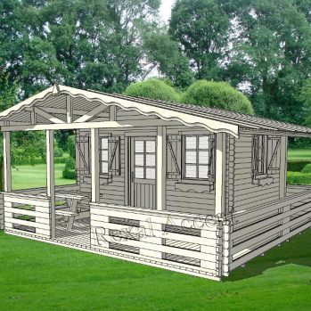 Casuta lemn 4.00 m x 3.00 cu terasa