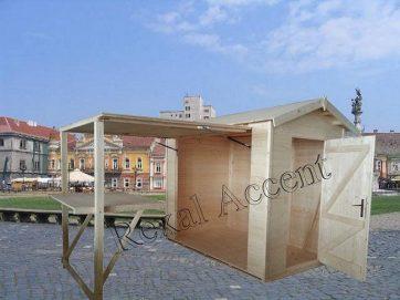 Chiosc comercial din lemn cu masa pliabila