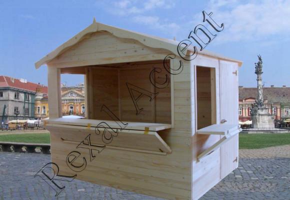 Chiosc comercial din lemn in panouri cu 3 deschideri 2,80 x 2,00 m